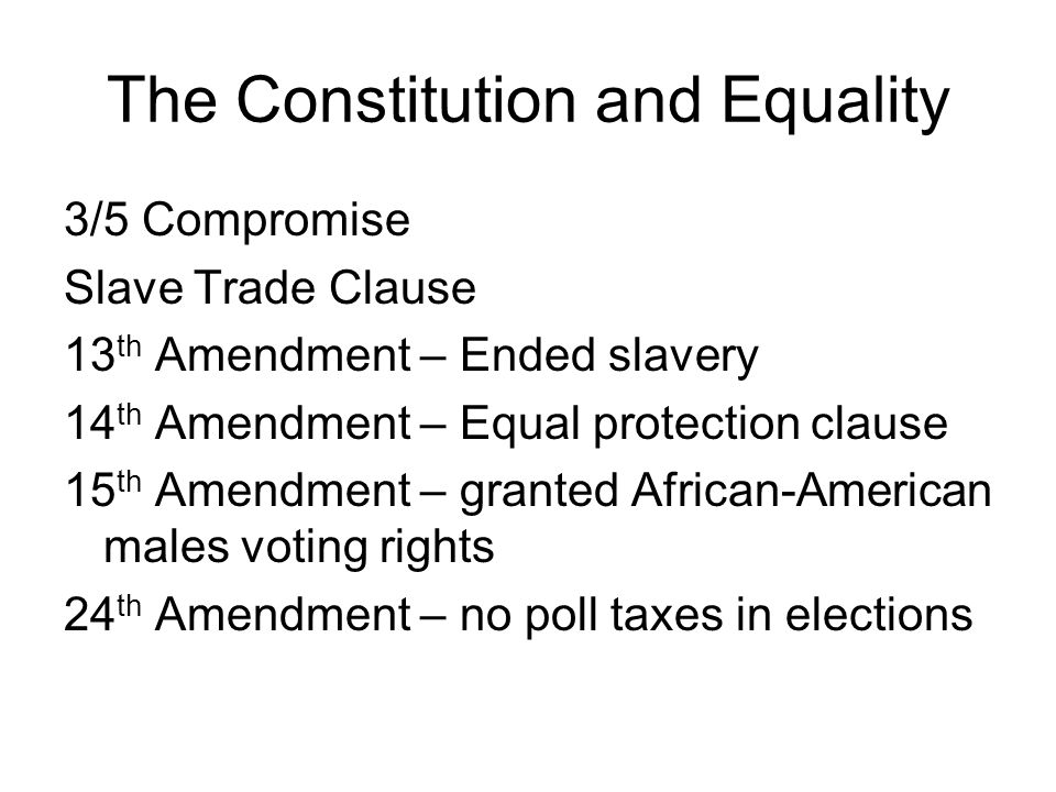The Constitution and Equality