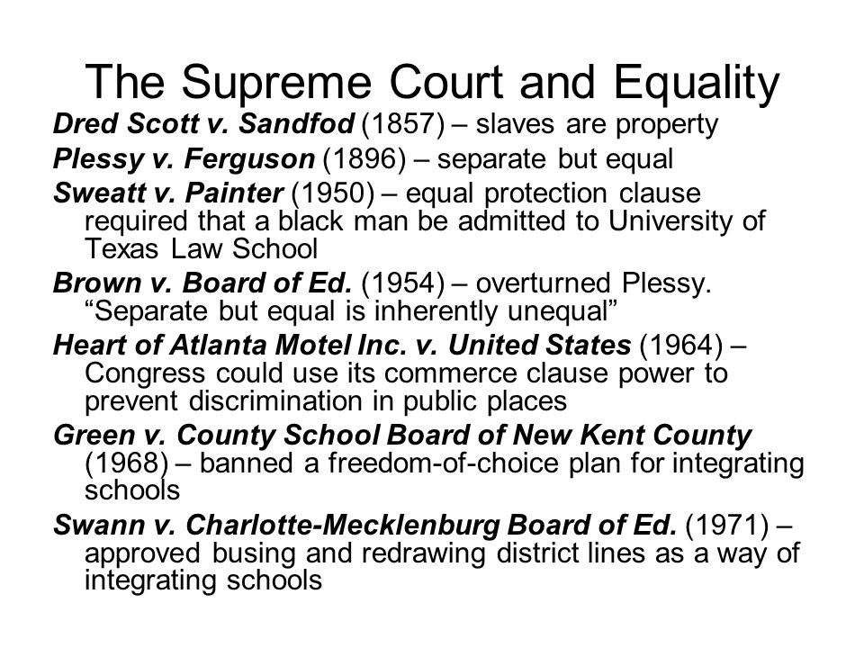 The Supreme Court and Equality
