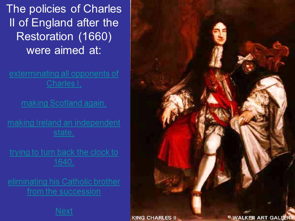 The policies of Charles II of England after the Restoration (1660) were aimed at: