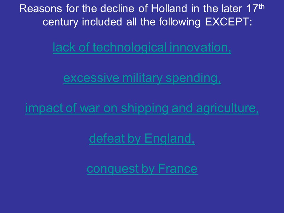 lack of technological innovation, excessive military spending,