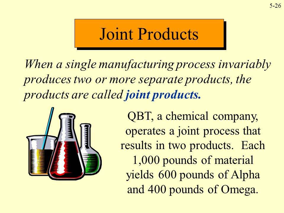 Joint Products When a single manufacturing process invariably produces two or more separate products, the products are called joint products.
