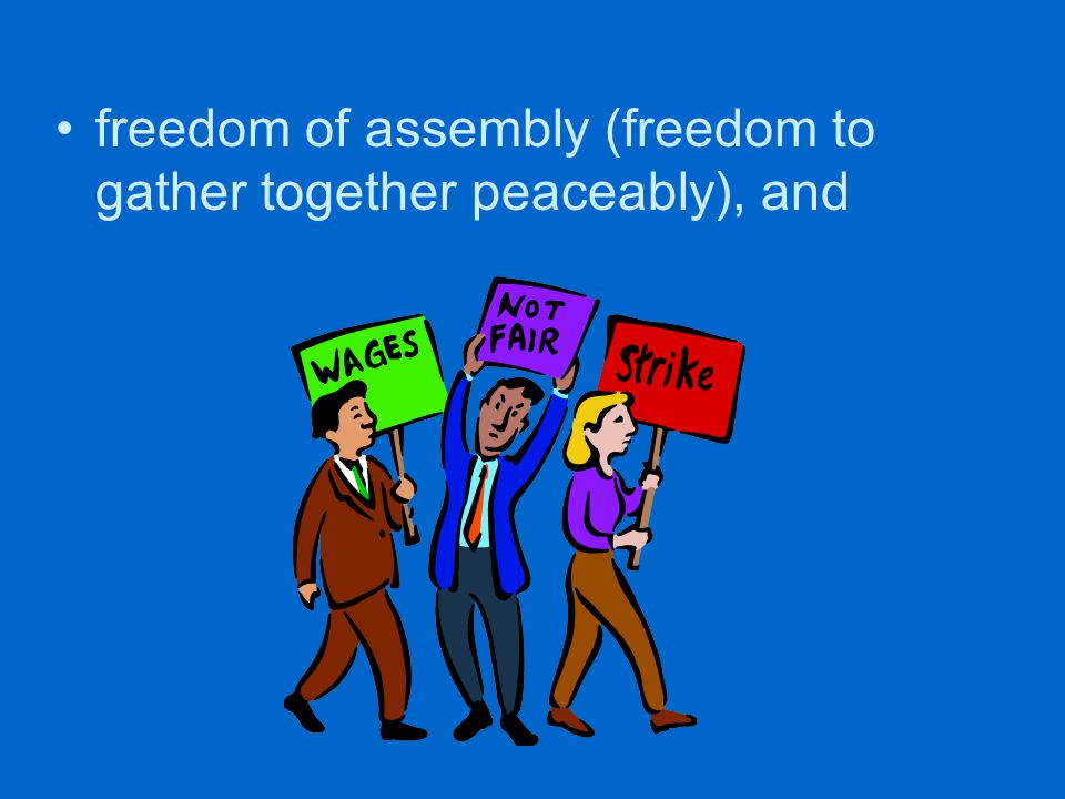 freedom of assembly (freedom to gather together peaceably), and