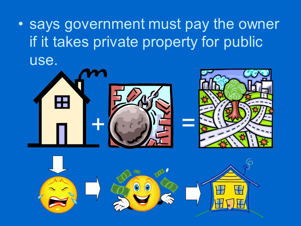 says government must pay the owner if it takes private property for public use.