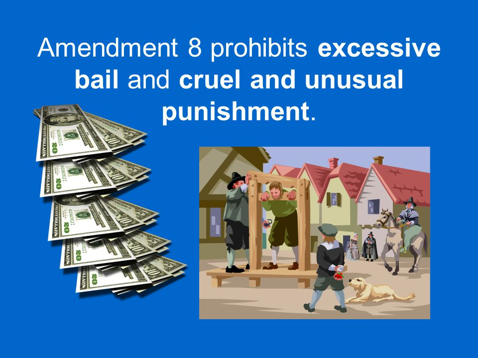 Amendment 8 prohibits excessive bail and cruel and unusual punishment.