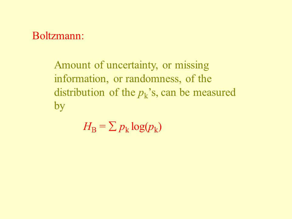 Boltzmann: Amount of uncertainty, or missing information, or randomness, of the distribution of the pk's, can be measured by.