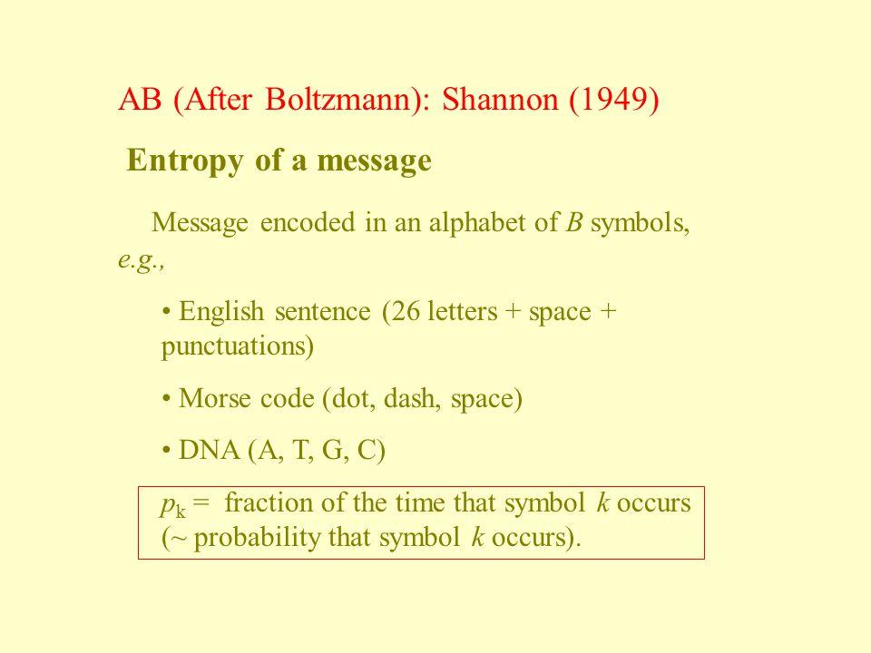 AB (After Boltzmann): Shannon (1949) Entropy of a message
