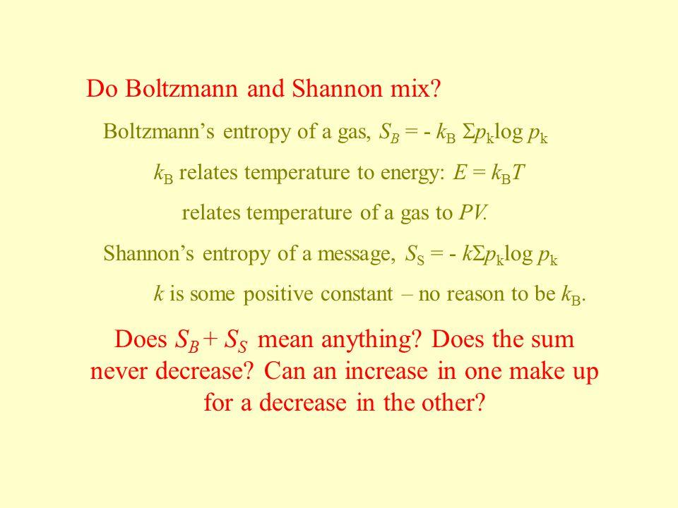 Do Boltzmann and Shannon mix
