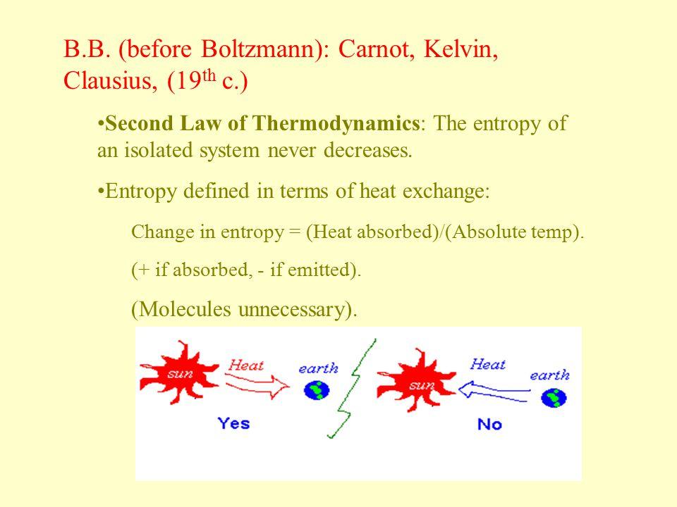 B.B. (before Boltzmann): Carnot, Kelvin, Clausius, (19th c.)