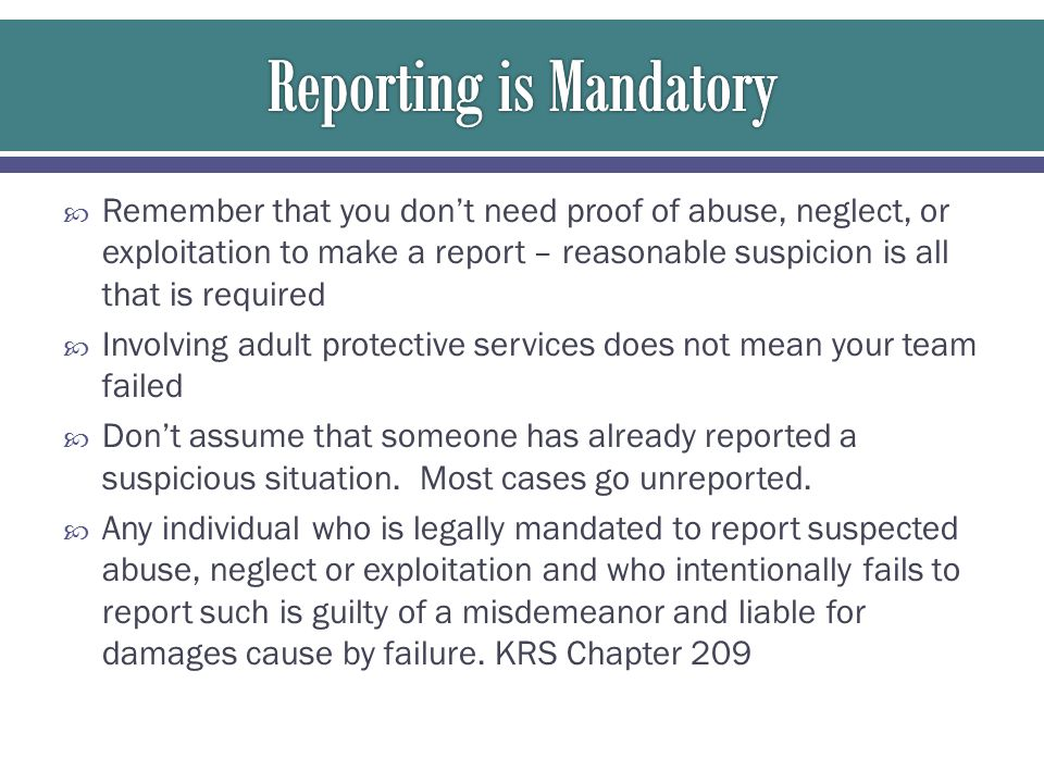 Reporting is Mandatory