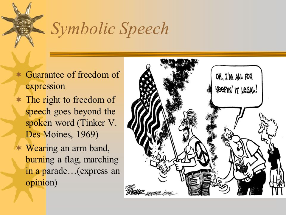 Symbolic Speech Guarantee of freedom of expression