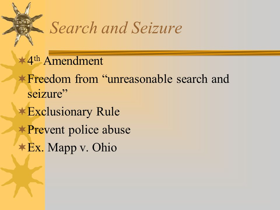 Search and Seizure 4th Amendment