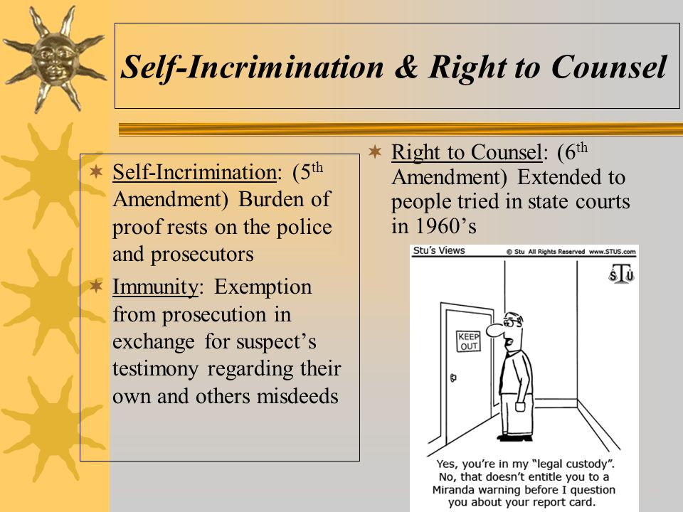 Self-Incrimination & Right to Counsel