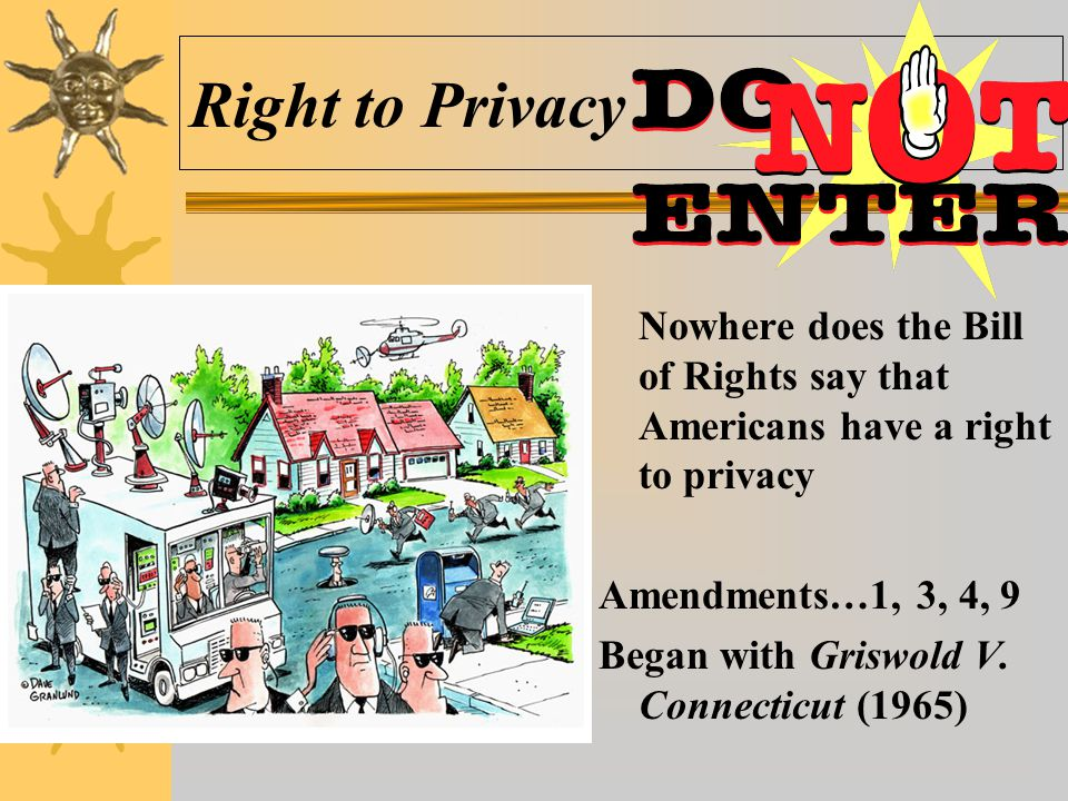 Right to Privacy Nowhere does the Bill of Rights say that Americans have a right to privacy. Amendments…1, 3, 4, 9.