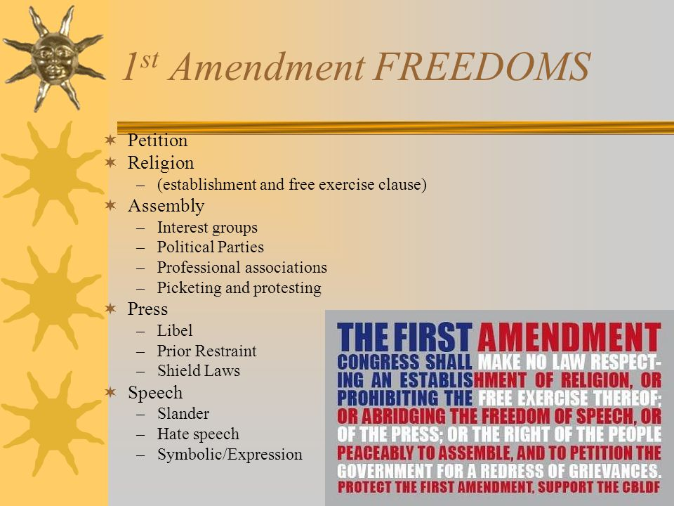 1st Amendment FREEDOMS Petition Religion Assembly Press Speech