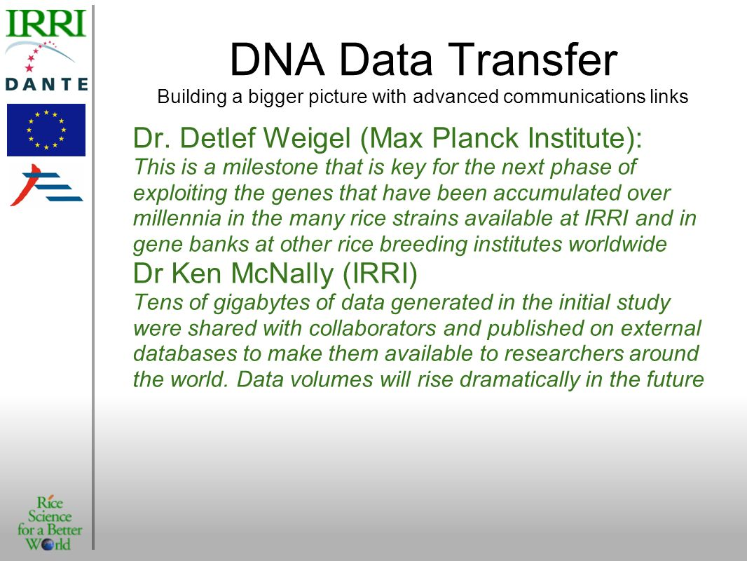 DNA Data Transfer Building a bigger picture with advanced communications links