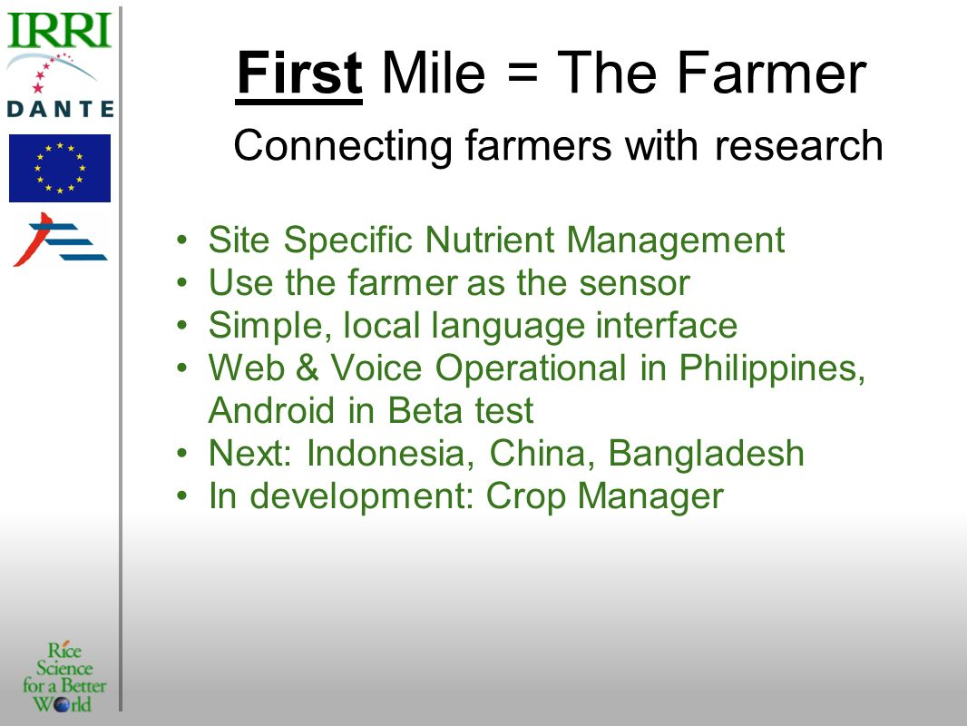 First Mile = The Farmer Connecting farmers with research