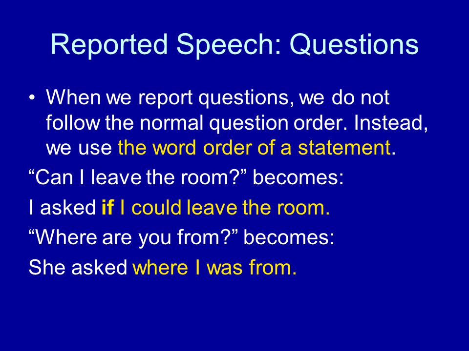 Reported Speech: Questions