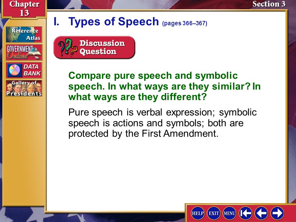 I. Types of Speech (pages 366–367)