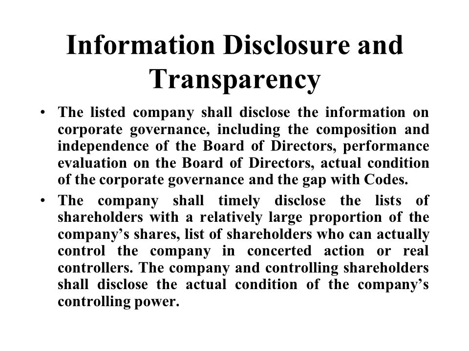 Information Disclosure and Transparency