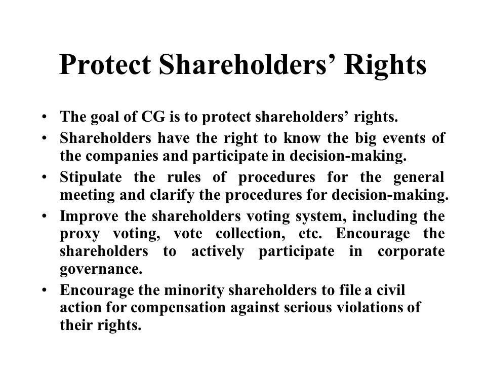 Protect Shareholders' Rights