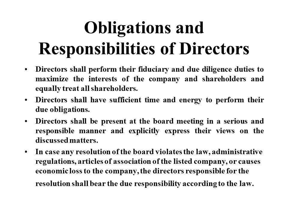 Obligations and Responsibilities of Directors