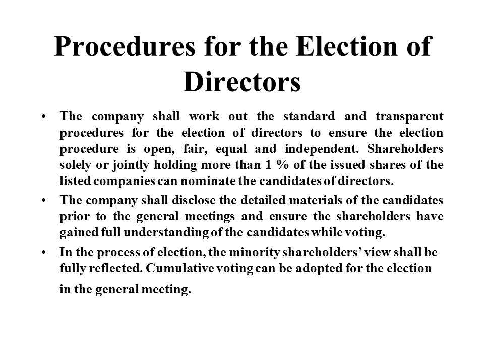 Procedures for the Election of Directors