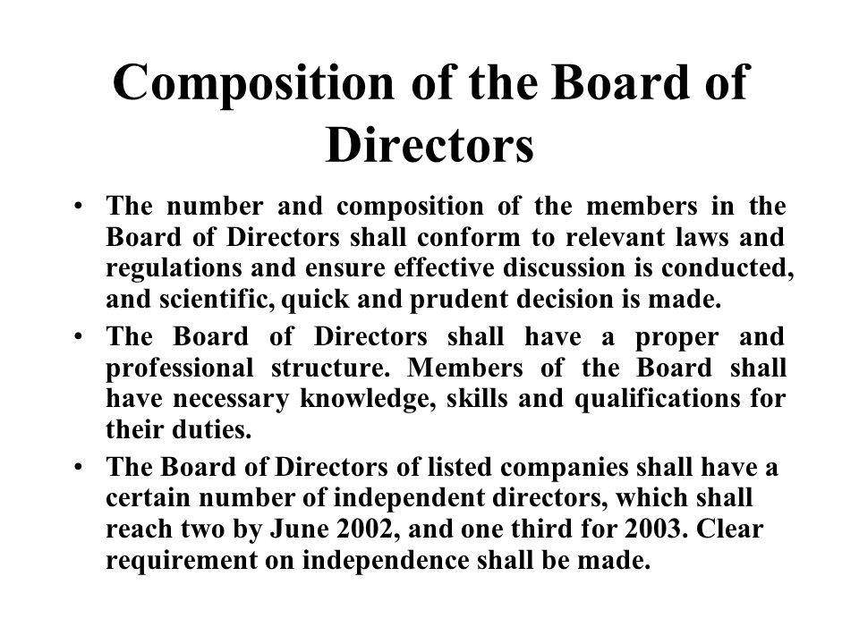 Composition of the Board of Directors