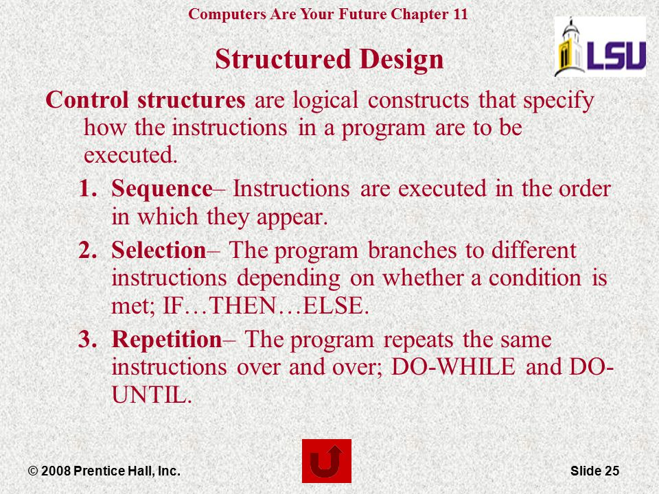 Structured Design Control structures are logical constructs that specify how the instructions in a program are to be executed.