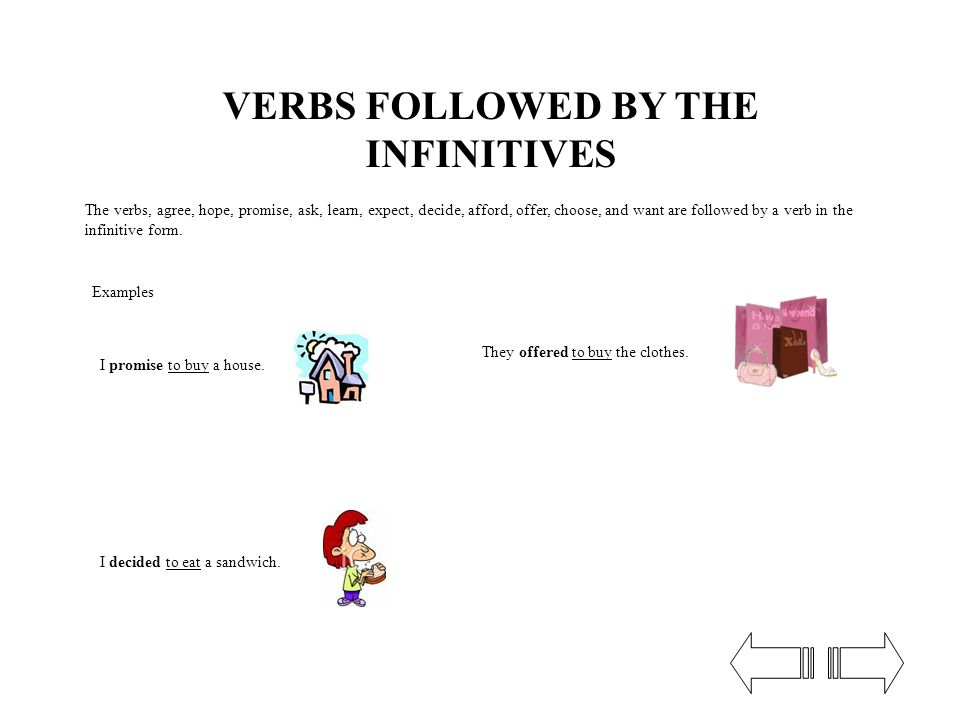 VERBS FOLLOWED BY THE INFINITIVES