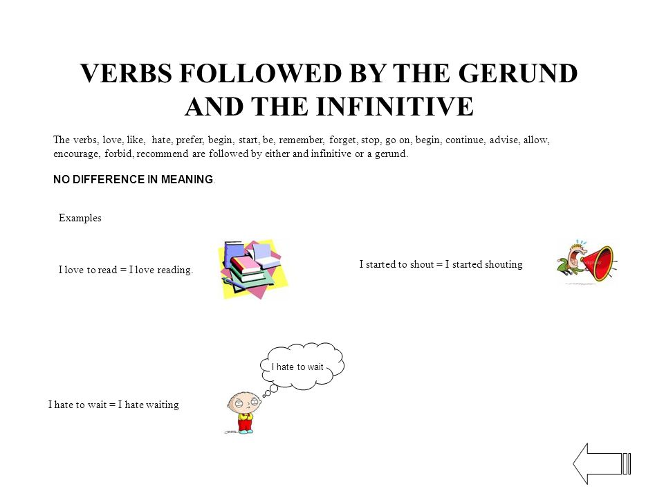 VERBS FOLLOWED BY THE GERUND AND THE INFINITIVE