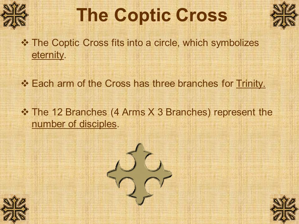 The Coptic Cross The Coptic Cross fits into a circle, which symbolizes eternity. Each arm of the Cross has three branches for Trinity.