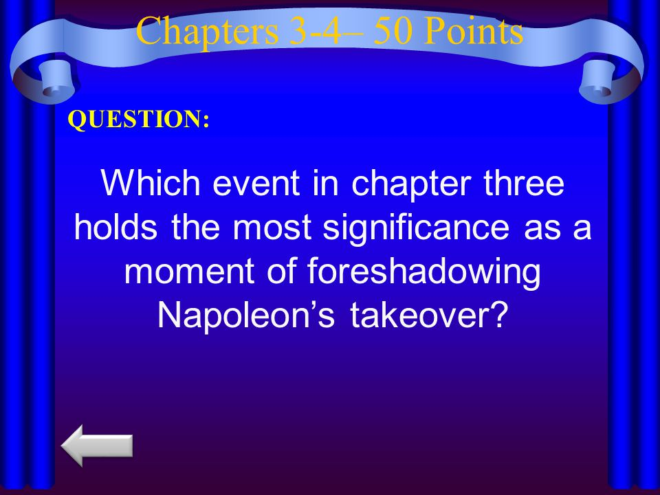 Chapters 3-4– 50 Points QUESTION: Which event in chapter three holds the most significance as a moment of foreshadowing Napoleon's takeover