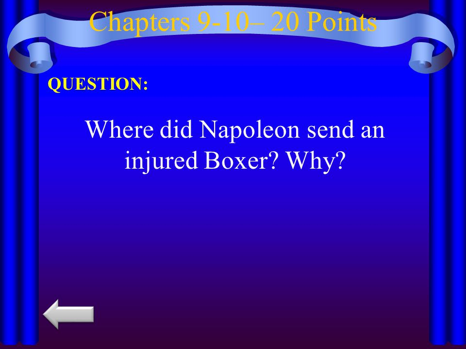 Where did Napoleon send an injured Boxer Why