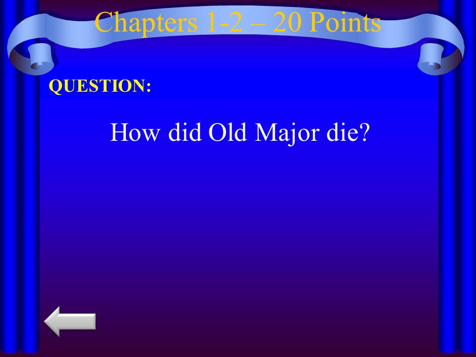 Chapters 1-2 – 20 Points QUESTION: How did Old Major die
