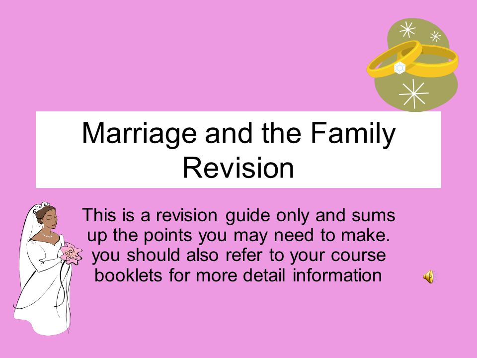 Marriage and the Family Revision