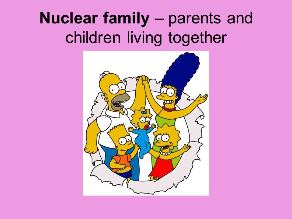 Nuclear family – parents and children living together