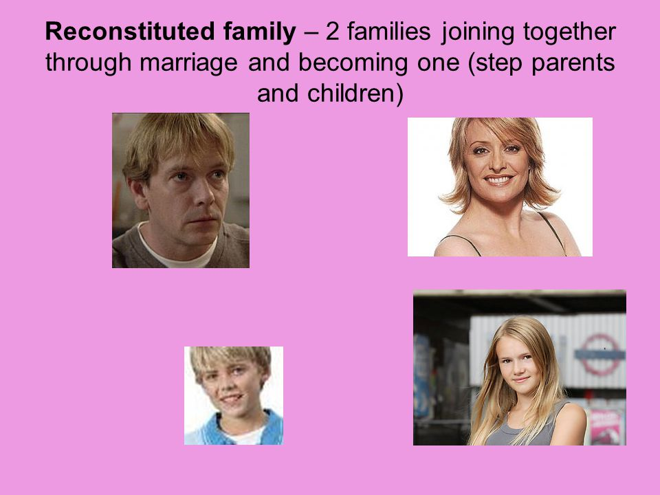 Reconstituted family – 2 families joining together through marriage and becoming one (step parents and children)