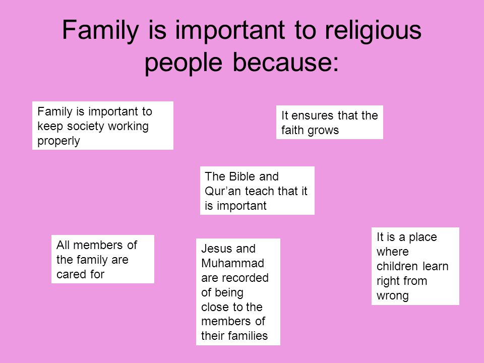 Family is important to religious people because: