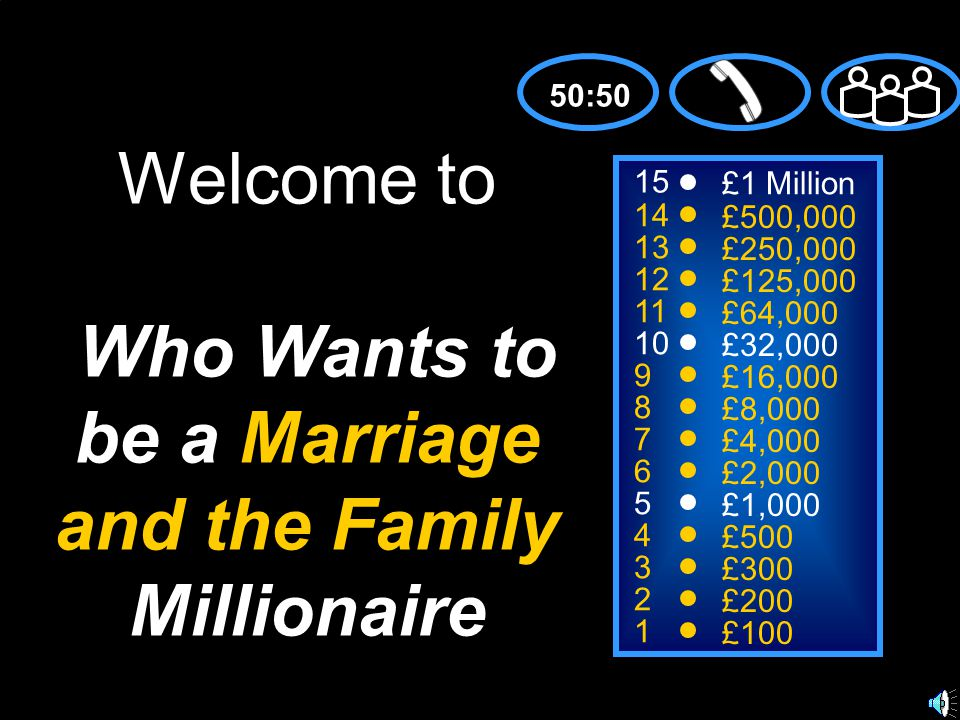 Welcome to Who Wants to be a Marriage and the Family Millionaire