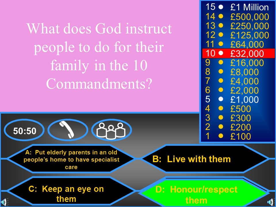 15 £1 Million. 14. £500,000. What does God instruct people to do for their family in the 10 Commandments