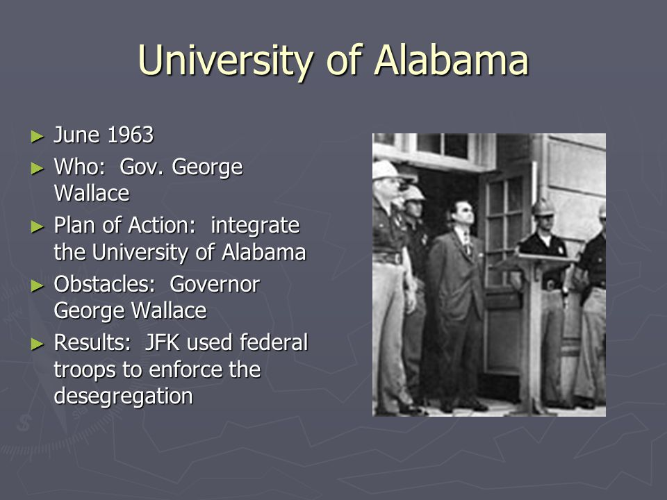University of Alabama June 1963 Who: Gov. George Wallace