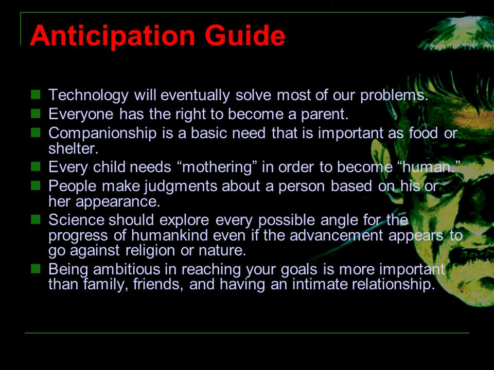 Anticipation Guide Technology will eventually solve most of our problems. Everyone has the right to become a parent.