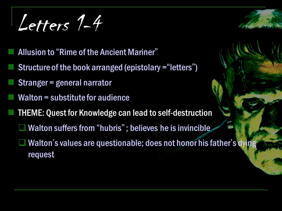 Letters 1-4 Allusion to Rime of the Ancient Mariner