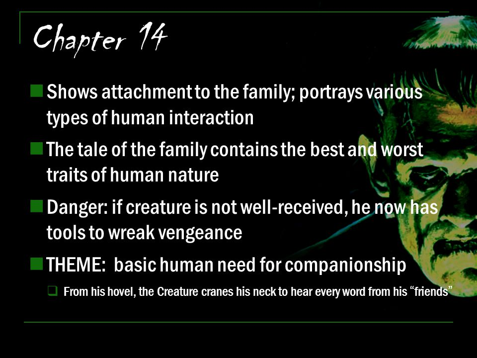 Chapter 14 Shows attachment to the family; portrays various types of human interaction.