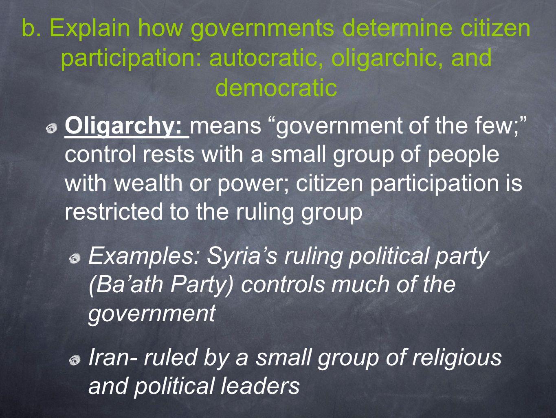 b. Explain how governments determine citizen participation: autocratic, oligarchic, and democratic