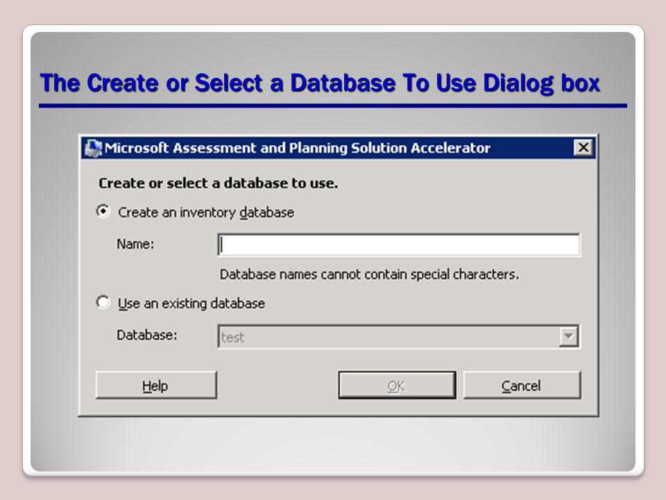The Create or Select a Database To Use Dialog box