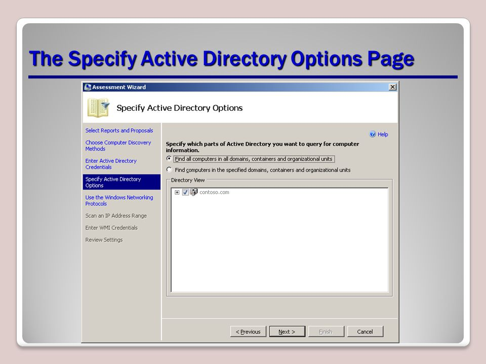 The Specify Active Directory Options Page