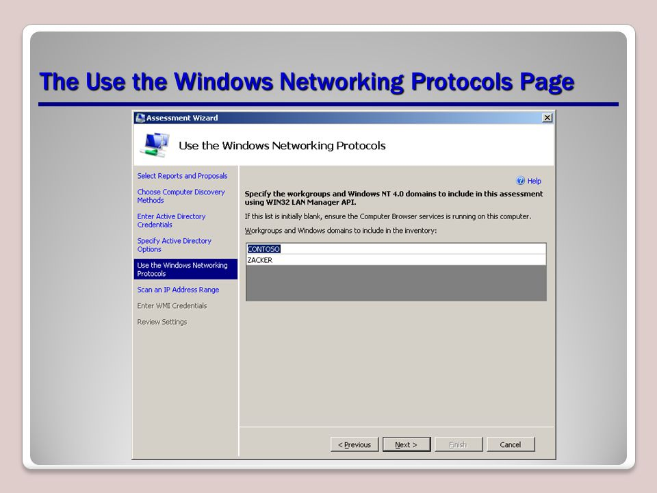 The Use the Windows Networking Protocols Page