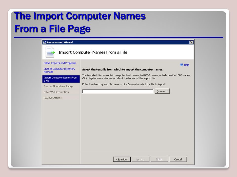 The Import Computer Names From a File Page
