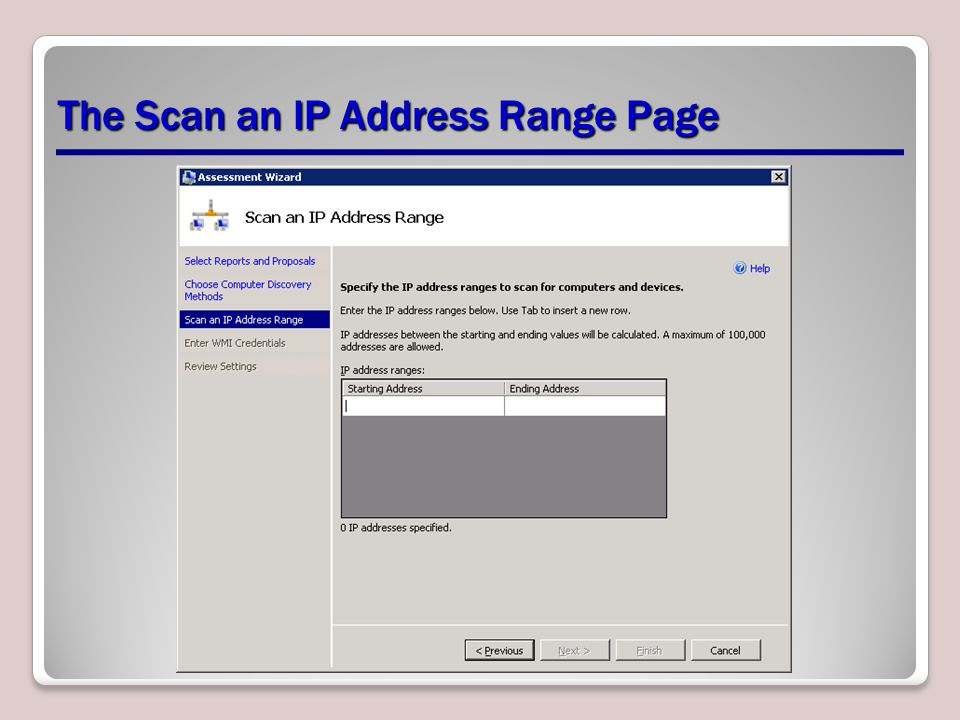 The Scan an IP Address Range Page